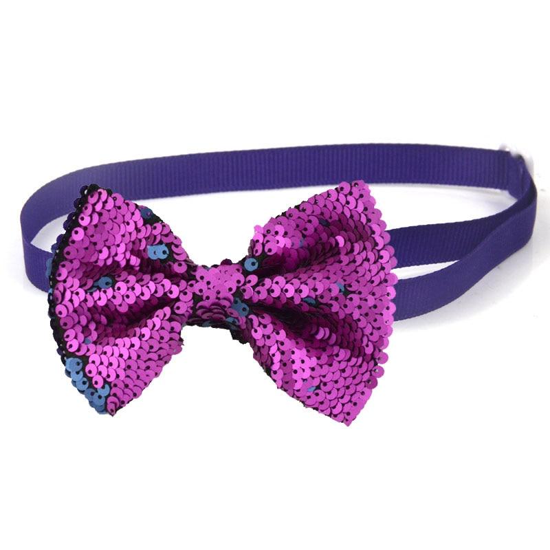 Reversible Sequins Big Dog Bow Tie 30-56CM Adjustable Collar Cat Pet Collar Accessories Pet Products