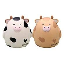 Hucha pequeña, cajas de almacenamiento para dinero, juguetes para niños, decoración del hogar, caja para ahorro de dinero, vaca bonita, inastillable