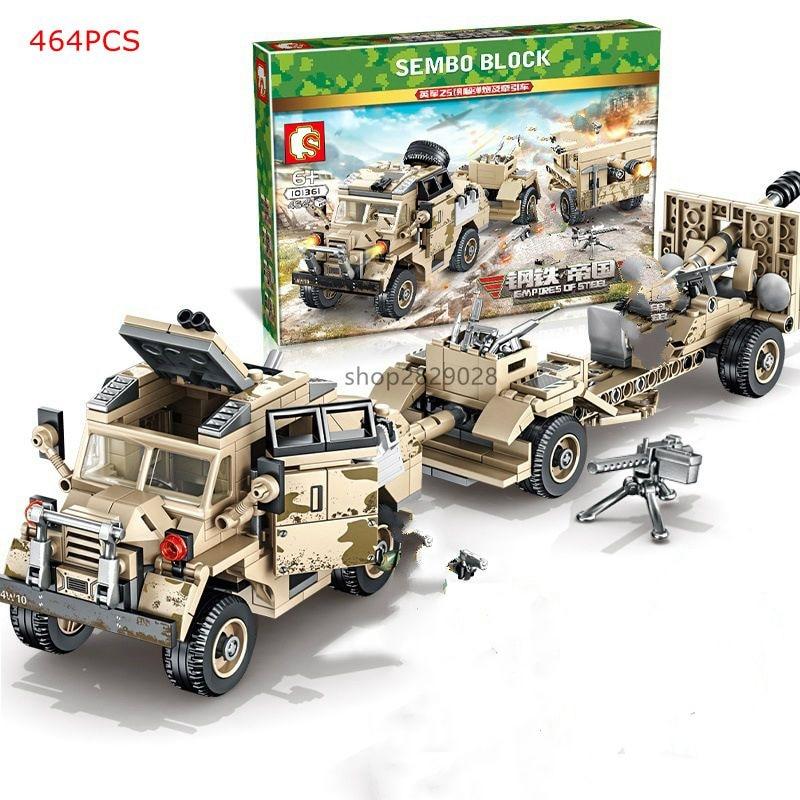 New 464pcs WW2 Tank Series British Howitzer Tractor Building Blocks WW2 Military Figures Model Bricks Boy Educational Toys