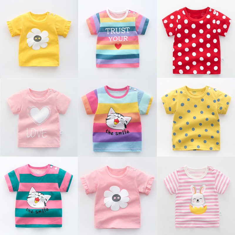 Unisex Baby Summer T Shirt Cartoon Printed Flower Rainbow Tops Tees Kids Children Casual Clothing Cotton T-shirt For Girls Boys