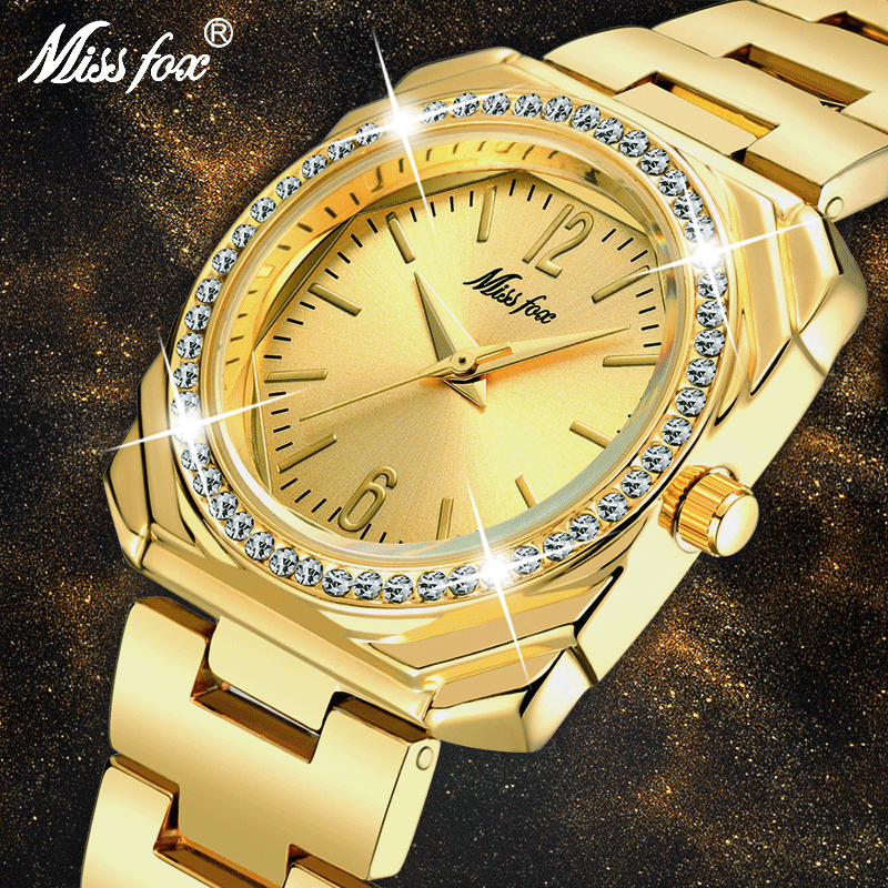 MISSFOX 2020 Elegant Women's Watches Luxury Brand Square 18K Gold Female Wristwatch Women Quartz Waterproof Classic Geneva Watch
