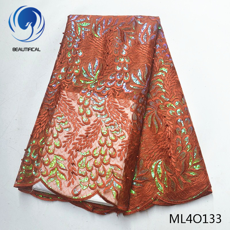 BEAUTIFICAL african lace fabrics organza fabric with sequins embroidery Hot sale nigerian organza lace with beads ML4O133