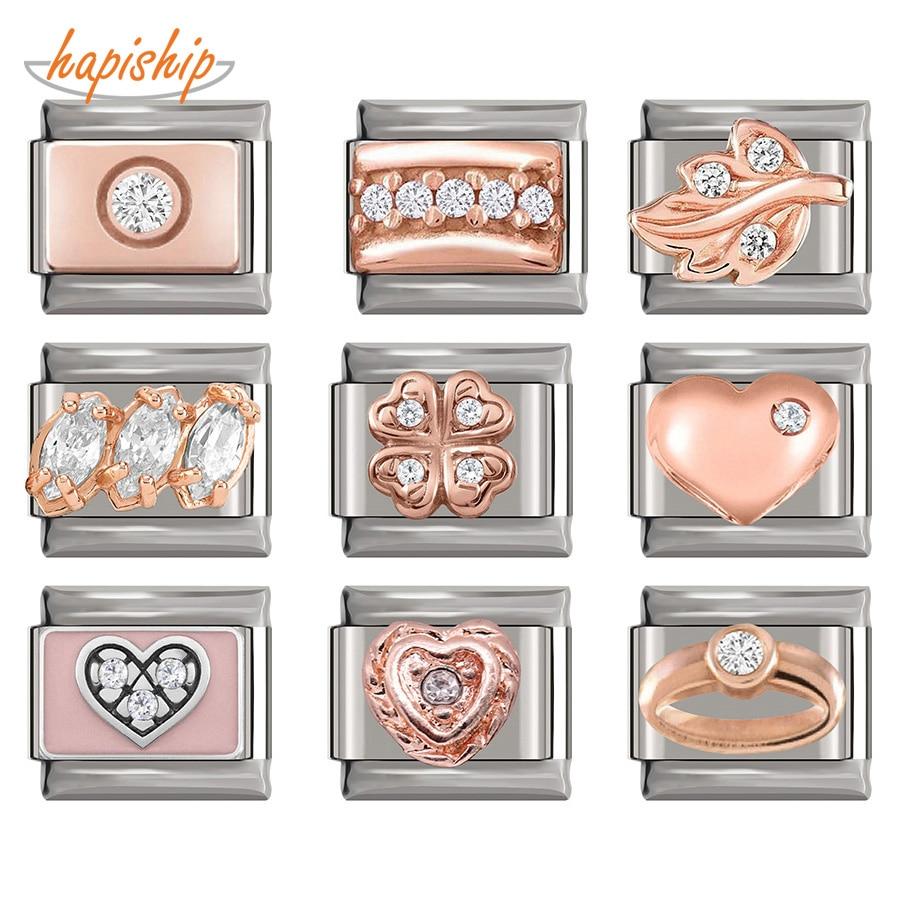 Hapiship 2019 Original Daisy Rose Heart Flower Dazzling CZ Italian Charm Fit 9mm Bracelet Stainless Steel Jewelry Making DJ218(China)
