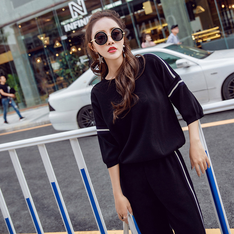 Set 2018 Autumn & Winter New Products Korean-style Knit Loose-Fit Half-sleeve Shirt Tops + WOMEN'S Dress-Style Trousers Two-Piec