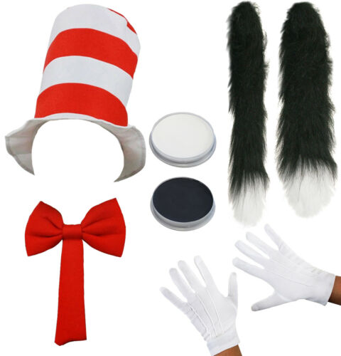 CHILD CRAZY CAT COSTUME SET ADULT  HAT GLOVES BOW TIE TAIL WORLD BOOK DAY FANCY DRESS