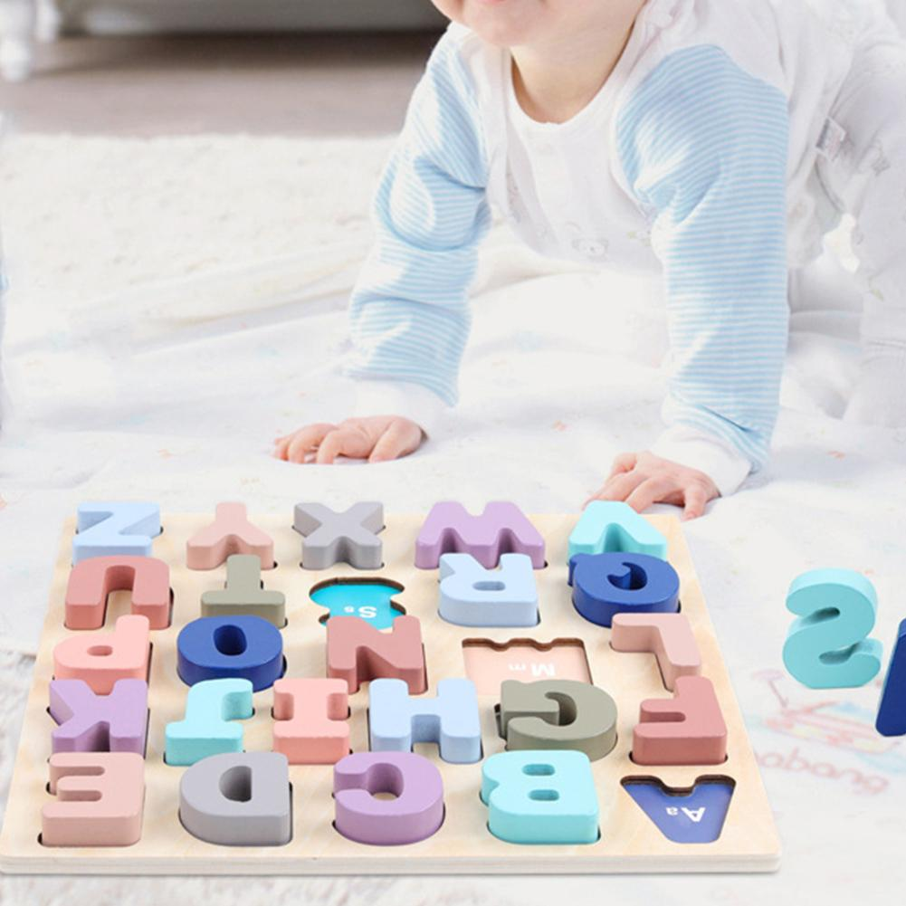 Wooden Macaroon Color 3D Alphabet Digital Number Puzzle Board Education Kids Toy Good To Exercise Their Cognitive Competence