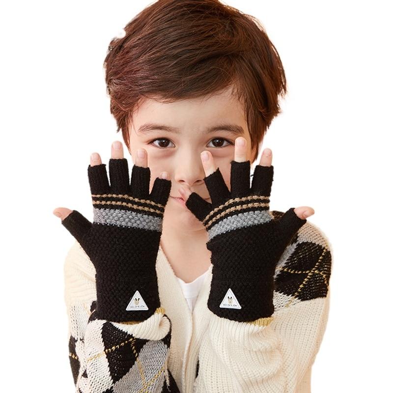 Children's Half-finger Gloves Fall/winter Windproof and Anti-freeze Fingerless Writing Warm Gloves Kids Gloves Kids Gloves