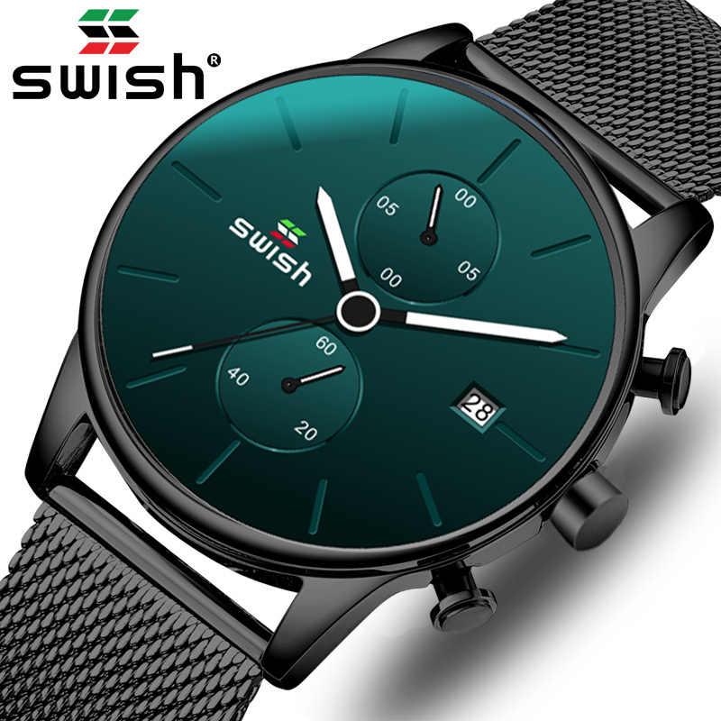 Swish Rvs Heren Horloges 2020 Fashion Black Chronograph Quartz Militaire Horloges Waterdichte Sport Klokken Montre