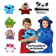 Детская толстовка с капюшоном для домашних животных, Детская толстовка с капюшоном в форме домашних животных, флисовая зимняя Толстовка дл...