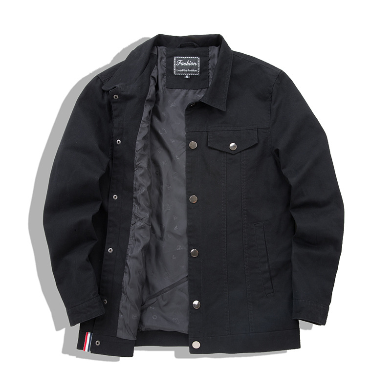 Men Cargo Baggy Denim Jackets Coats Solid Color Loose Style Jeans Jackets Outwear For Male Size M-4XL Black (4)