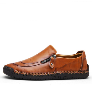 Image 3 - Valstone Mens Leather casual Shoes handmade Loafers vintage moccasin slip on Rubber flats Anti skid Zip opening Plus size 38 48