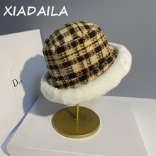 Bucket-Hat Korean Fisherman's-Hat Versatile Winter Women's Check Casual Bird Thousand
