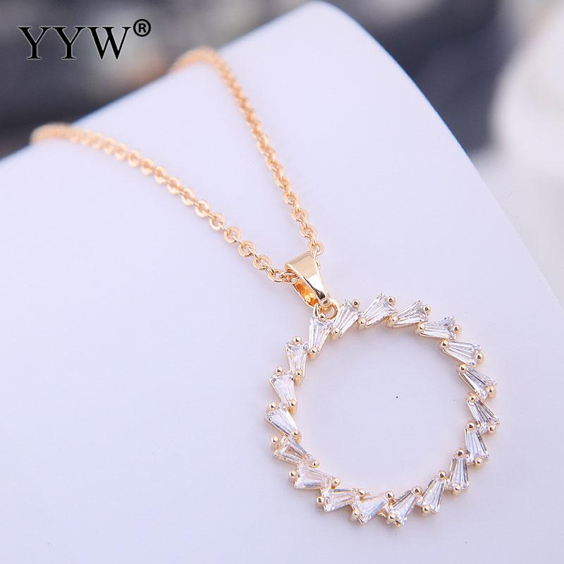 Cubic Zirconia Brass Necklace Fashion Color Silver Circle Zircon Simple Pendant Jewelry Wholesale