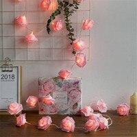10/20/40leds Cadena de rosas luces batería Rosa luces de Navidad para boda fiesta vacaciones Navidad decoración lámparas