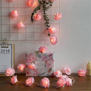 Гирлянда с розовыми цветами, 10/20/40 светодиодов, с аккумулятором, Рождественские огни для вечеринок, свадеб, праздников, рождественских украш...