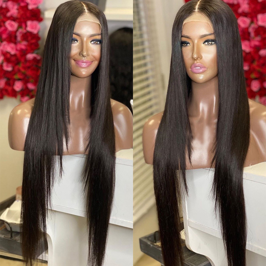 13*4 Black Wig Long Straight Hair180% Density Lace Wigs Glueless Heat Synthetic Lace Front Wig With Bangs For Black Women