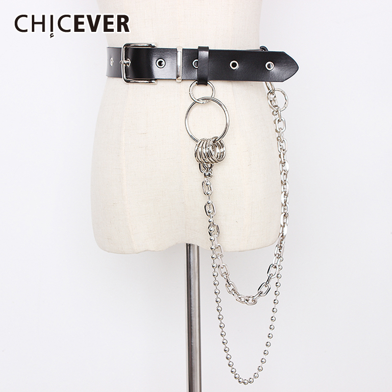 CHICEVER Korean Chain Patchwork Belts Female Vintage Dresses Accessories Summer 2019 PU Leather Belt For Womens Fashion New Tide
