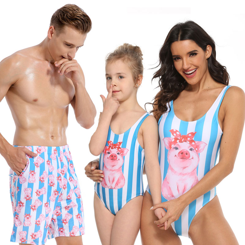 Striped Cute Pig Printed Women Bikinis Mommy And Me Swimming Suit Family Look Mom And Daughter Swimsuit Dad Son Boy Beach Shorts