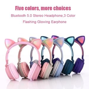 Image 2 - Kinder Bluetooth 5,0 Kopfhörer LED licht Katze Ohren Headset Drahtlose Kopfhörer HIFI Stereo Bass kopfhörer für Handys mit mikrofon