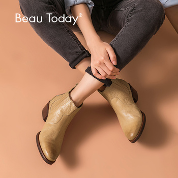 BeauToday Chelsea Boots Women Genuine Cow Leather Round Toe Elastic Band British Lady Ankle Boots Winter Shoes Handmade 03286 shangmsh floral ankle boots for women winter genuine leather women s boots retro handmade comforable shoes footwear large size