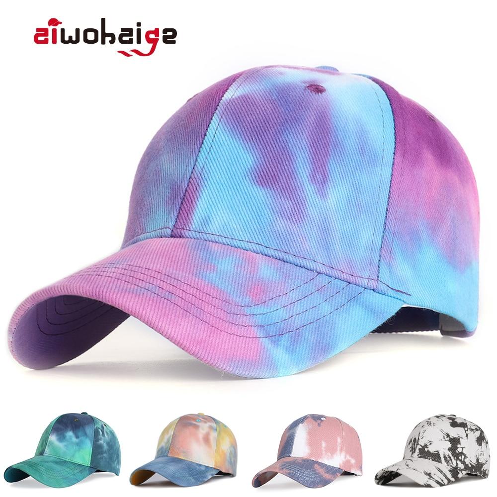 2020 New Fashion Tie-Dye Baseball Cap Spring Men Women Trend Lovers Colorful Snapback Hat Outdoor Adjustable Sun Graffiti Bone