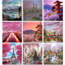 SDOYUNO Cherry blossoms Scenery Painting By Numbers DIY Oil Paint By Numbers On Canvas 60x75cm Frameless Number Painting Decor image
