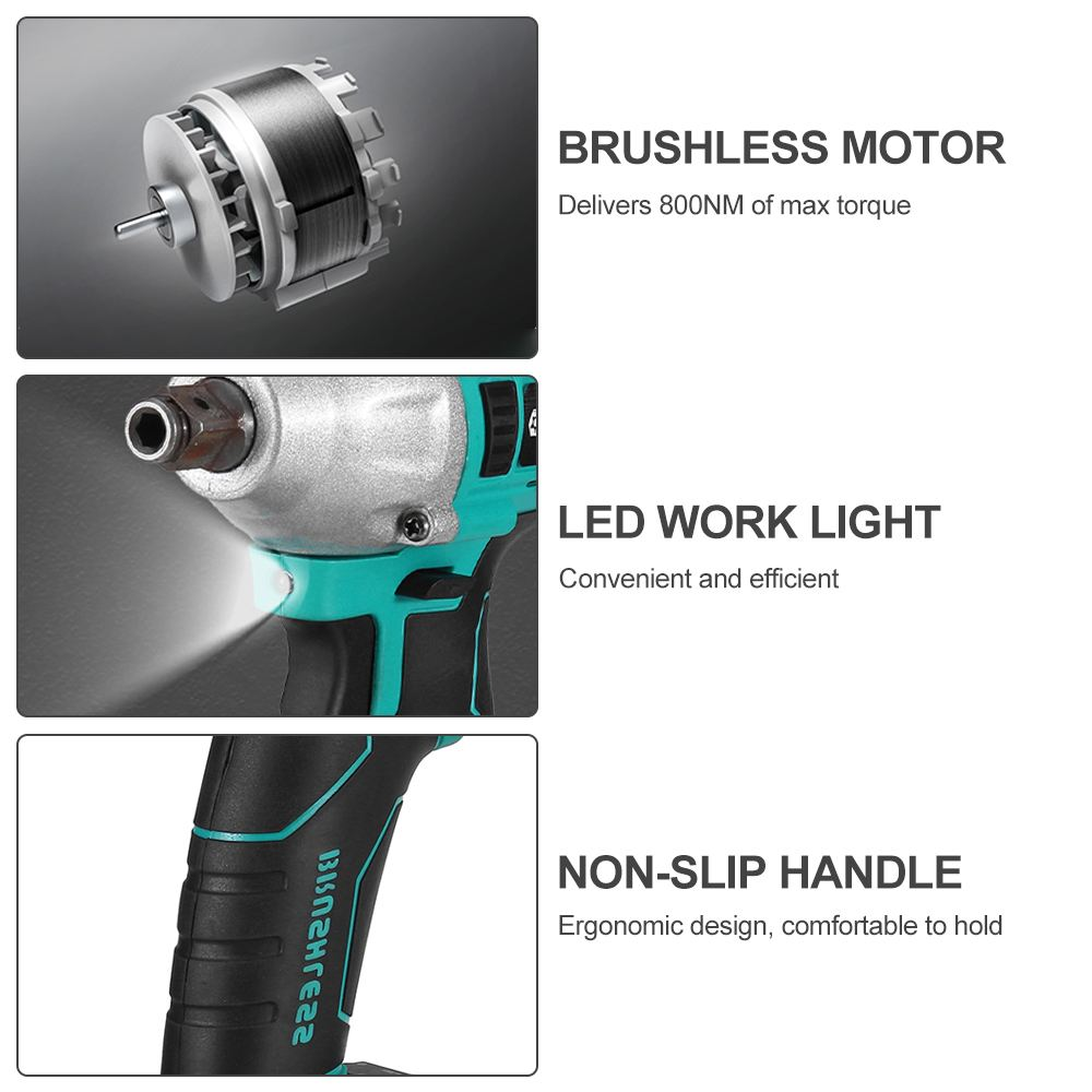 Tools : 388VF 22800mAh Brushless Electric Impact Wrench 1 2 800N m Torque Wrench Li-ion Batery Power Tools Adapt to Makita 18V Battery