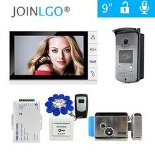 """9 """"컬러 스크린 비디오 도어 인터콤 시스템 + 화이트 모니터 + 방수 RFID 초인종 카메라 + 전기 잠금 장치 무료 배송"""