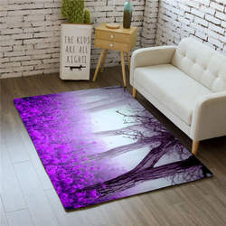 Nordic fioletowe kwiaty dywany Home Decor sypialnia miękka flanelowa z pianki memory jadalnia mata na stół dywaniki 3D dywan do salonu w Dywany od Dom i ogród na