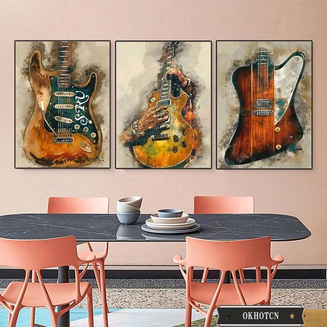 Wall Art Graffiti Painting Rock Guitar Printed on Canvas 1