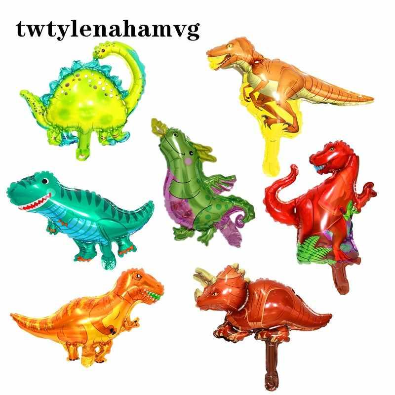 Mini nuovo verde giallo marrone blu FAI DA TE dinosauro del cartone animato foglio di alluminio auto-tenuta palloncino di compleanno per bambini decorazioni del partito
