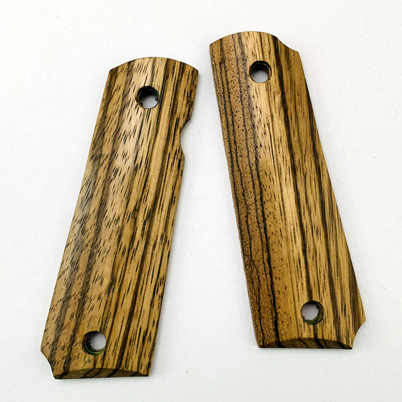 2Pieces 1911 Grips Natural Zebra Wood Handle Grips Patch Custom Grips CNC Handle Grips