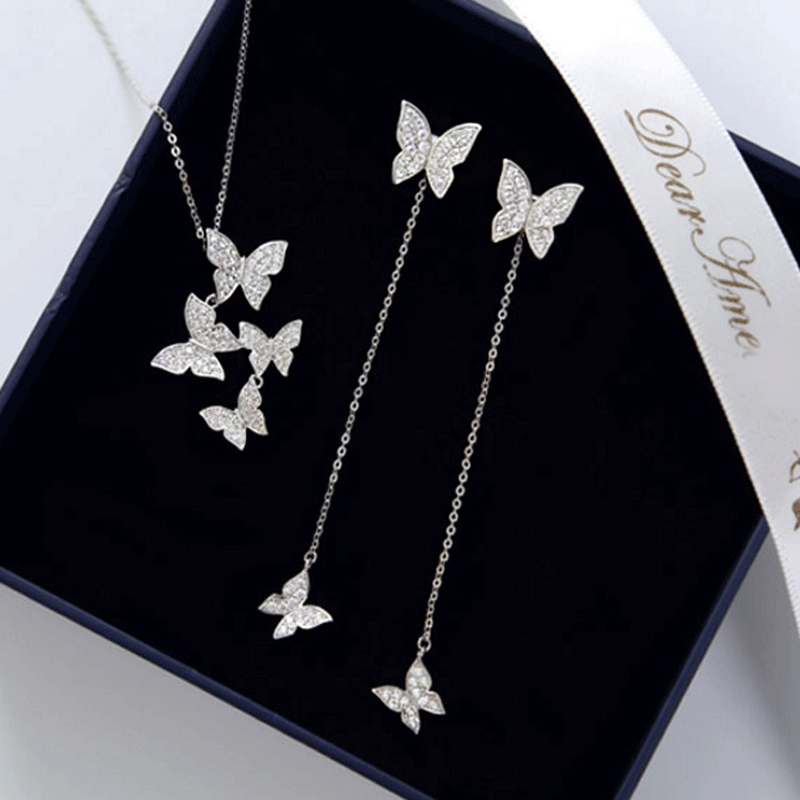 Charming Dazzling Micro 925 Sterling Silver Zircon Butterfly Necklaces With Earring set Women Gift Necklace Chain Choker NK022S