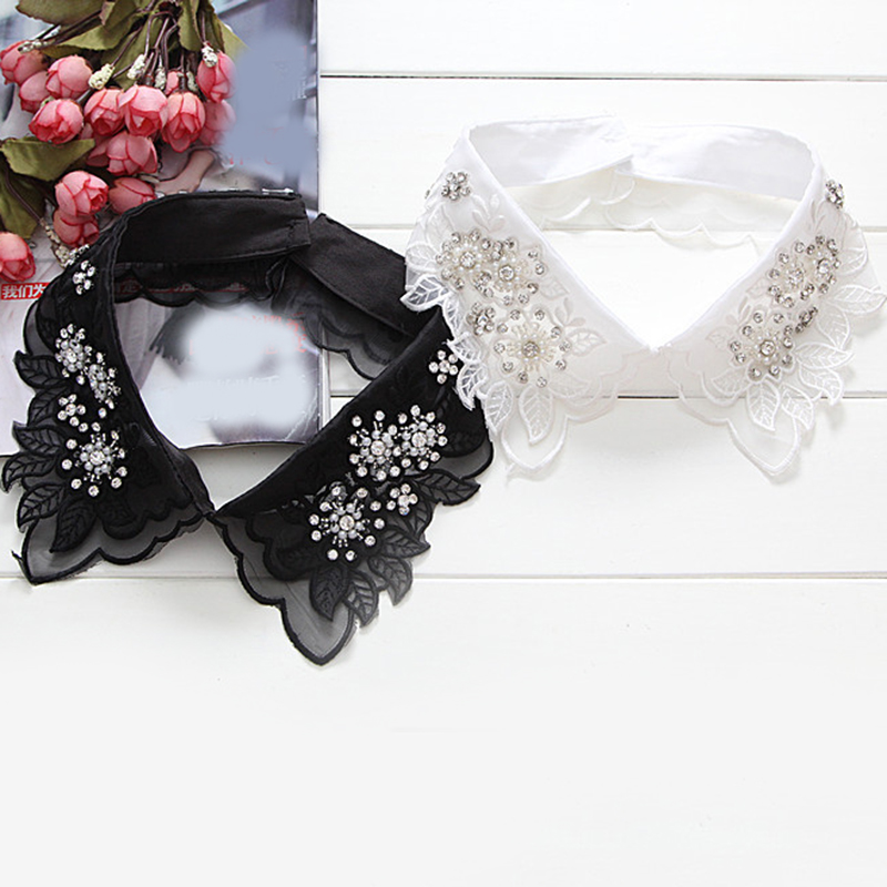 White Pearl Fashion Shirt Lace  False Collar Embroidery Sweater Elegant Fashion Wild Detachable Collars Flower One Size Corbata