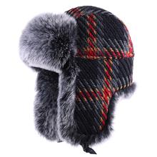 Winter Bomber Hat Men Women Russian Ushanka Trapper Hat Faux Fox Fur Hats Wool EarFlap Aviator Trooper Cossack Ski Snow Cap cheap UFMFNU Unisex Adult UB1003 Patchwork Bomber Hats COTTON Polyester Faux Fur