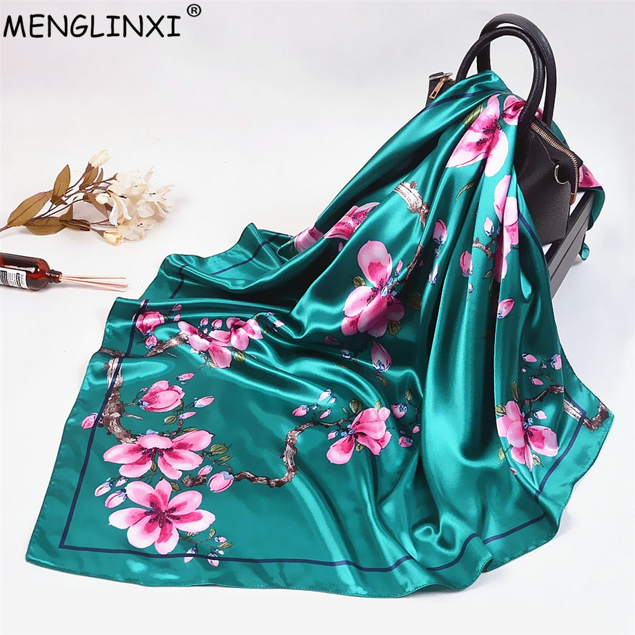 2019 Wintersweet Floral Women Silk Scarf Large Square Scarves Female Bandana Fashion Handkerchief Ladies Hijab Kerchief Scarves
