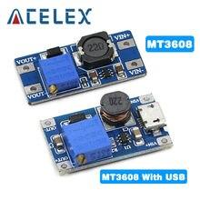 MT3608 DC-DC Placa Impulso Step Up Módulo Impulso Ajustável Módulo 2A com MICRO USB 2V-24V para 5V 28 12 9V V V