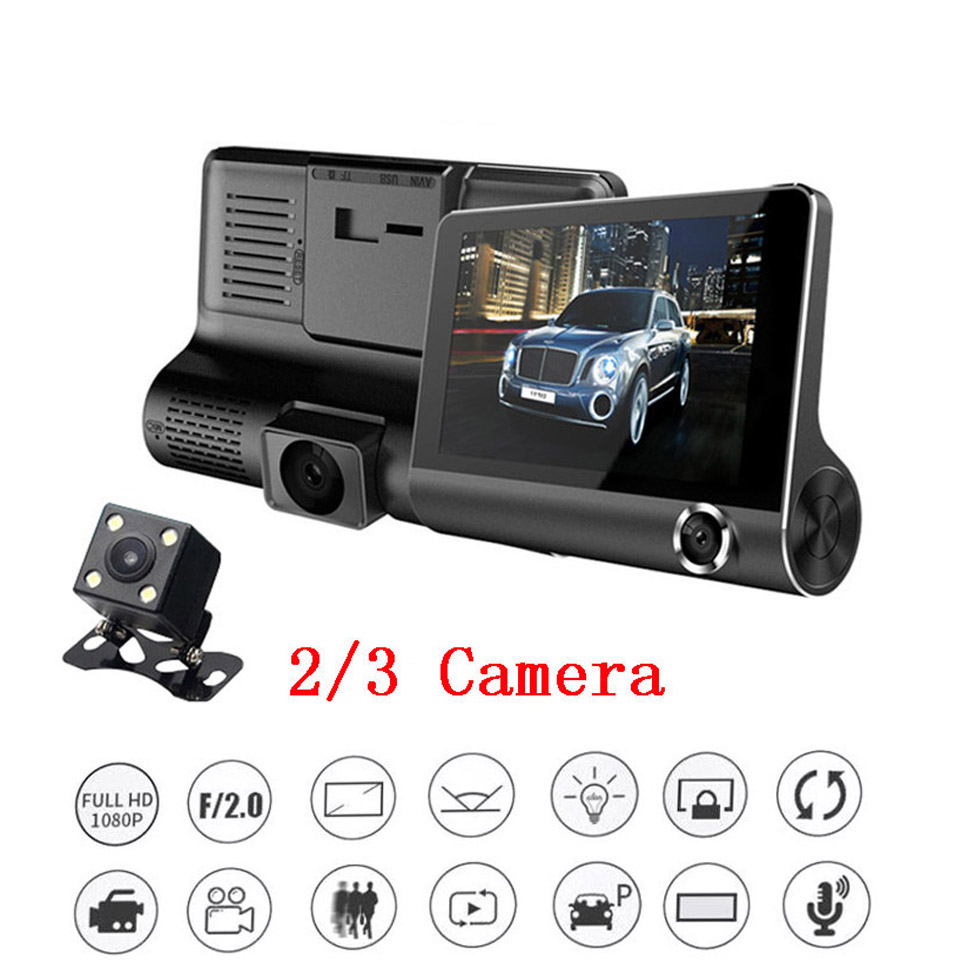4 Inch  1080P HD 3 Lens Car Dash DVR Camera Vehicle Video Rearview Recorder