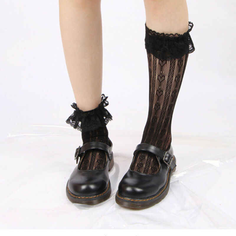 Fashion Lolita Gothic Calf Ankle Knee Ruffle Women Girl Sexy Lace Socks Stocking Size 4 -6