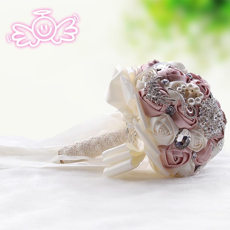 Rose Red Luxury Crystal Wedding Bouquet Satin Flower Pearls Rhinestone Royal Blue Bridal Bouquets Bride Ramo Flores