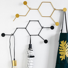 New Chemical Molecular Hook Iron Art Wall Decoration Light Luxury Wall Hanging Bedroom Room Hook Student Gift Prize and Decor