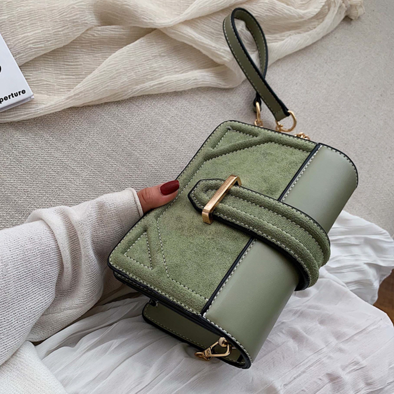 Army Green Scrub Leather Crossbody Bag 2020 Women Small Chain Handbag Small Bag Solid Color Hand Bag Ladies Designer Evening Bag