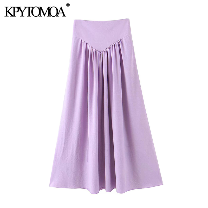 KPYTOMOA Women 2020 Chic Fashion Cozy Pleated Maxi Skirt Vintage High Waist Side Zipper Female Skirts Casual Faldas Mujer