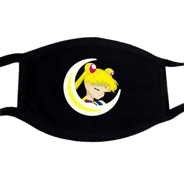 Sailor Moon Cartoon Cute Mask Mouth Muffle Face Dustproof Masks Black Casual Keep Warm Masks Anti-dust Japanese Anime Mask 1