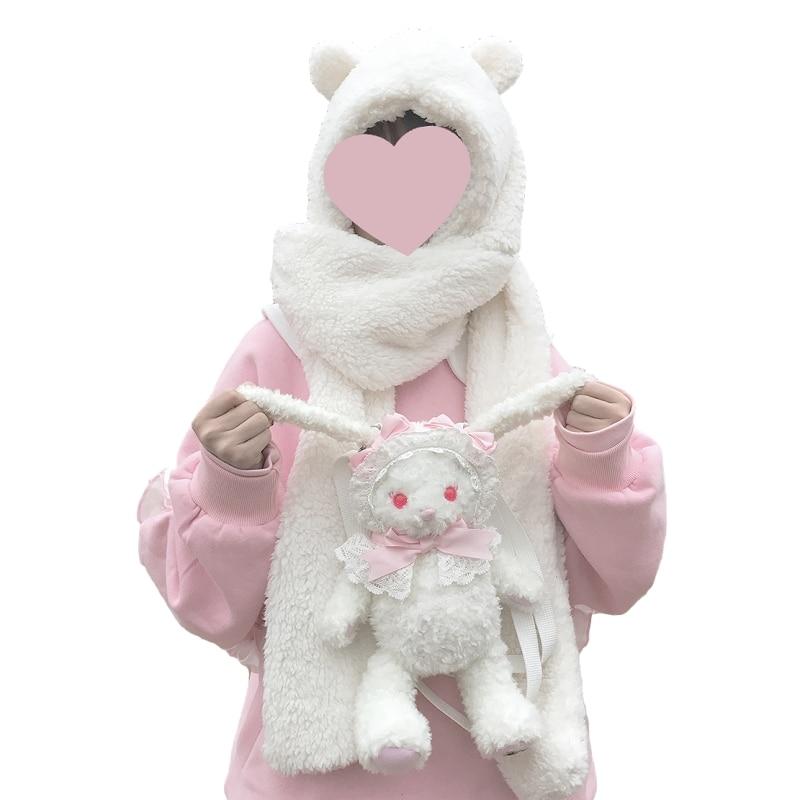 Japanese  Female Kawaii Bear Neck Warmer Scarf Winter Soft Plush Hooded Cap Hat Scarves Skullies  A Nice Gift For Woman Girl