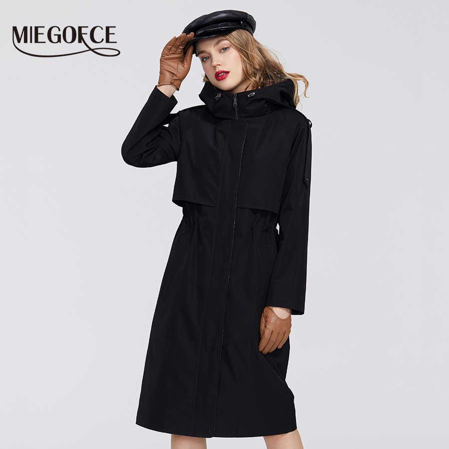 MIEGOFCE 2020 ฤดูใบไม้ผลิใหม่ Trench Collection Designer ผู้หญิงเสื้อคลุม WARM Windproof เสื้อโค้ทกันน้ำกับ Hood Windbreaker