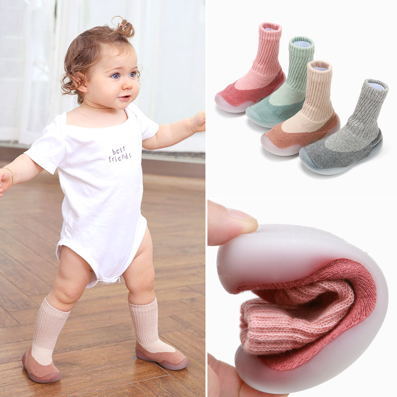 Baby Toddler Boots Rubber Soles Socks Autumn And Winter Floor Shoes Long Tube Toddler Baby Socks Shoes Cotton Children Socks