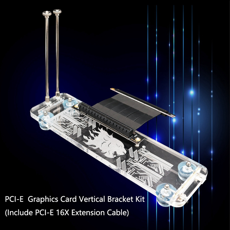 Graphics Card Vertical Holder with RGB LED Light and PCI-E Extension Cable Fixed GPU Vertical, PCI- E 3.0 16X