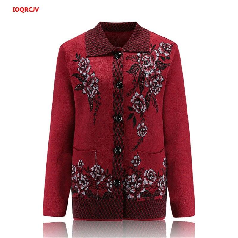 Женский вязаный свитер для пожилых женщин, пальто, куртка, большой размер, осень, воротник с лацканами, Свободный кардиган, женский свитер, п...