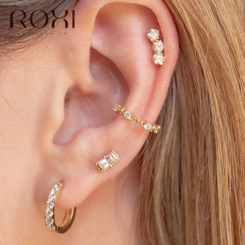 ROXI 925 Steling Silver Ear Cuff Clip Earring For Women C-Shape No Pierced Small Earring Crystal Ear Wrap Earcuff Clips Jewelry